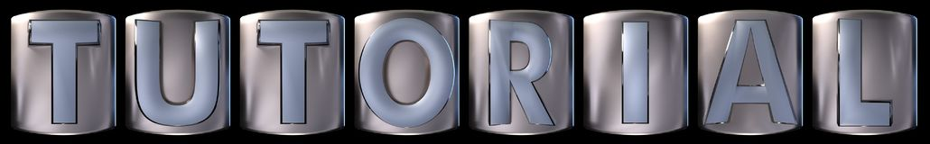 Metallic tutorial word. Metallic blue silver tutorial word realistic 3d rendered on black background Stock Photography