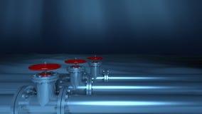 Metallic underwater pipelines Stock Photo