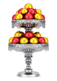 Metallic vase with christmas balls isolated on white Royalty Free Stock Photo