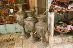 Metallic Vases Arabic market ,Jerusalem. Arabic market in Christian Quarter of Jerusalem, Israel Royalty Free Stock Photography