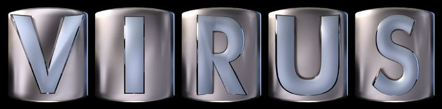 Metallic virus word. Metallic blue silver virus word realistic 3d rendered on black background Stock Photography