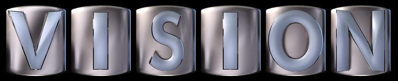Metallic vision word. Metallic blue silver vision word realistic 3d rendered on black background Stock Image