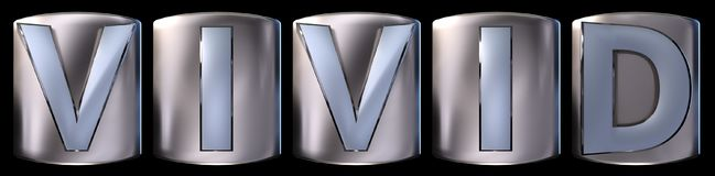 Metallic vivid word. Metallic blue silver vivid word realistic 3d rendered on black background Stock Photos