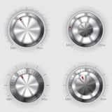 Metallic volume controllers Stock Images