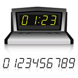 Metallic watch with set of numbers. Realistic digital metallic watch with set of luminous numbers. 3D vector illustration Royalty Free Stock Image