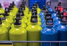 Metallic water bottles Stock Photos