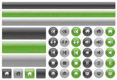 Metallic web buttons & music controls icons Royalty Free Stock Image