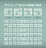 Metallic web icons set Royalty Free Stock Images