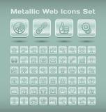 Metallic web icons set. Set of 55 metallic icons for web browsing, media and communication Royalty Free Stock Images
