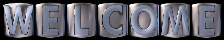 Metallic welcome word. Metallic blue silver welcome word realistic 3d rendered on black background Stock Image