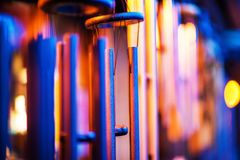 Metallic Wind Chimes. Closeup Photo. Christmas Decoration Royalty Free Stock Images
