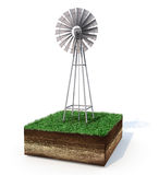 Metallic windmill on an isolated grassy land. Metallic windmill on an isolated square grassy land with visible soil layers, copy space and shadow on white Royalty Free Stock Photo