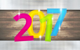 2017 metallic wooden background new year design. Graphic illustration modern image graphic Stock Photography
