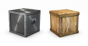 Metallic and wooden boxes. With clipping paths Royalty Free Stock Image
