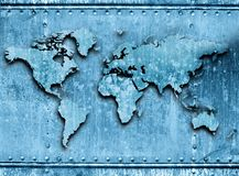 Metallic World. World map ( America, Europe, Asia ). Metal texture Stock Images
