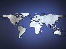 Metallic world map. 3D background royalty free illustration