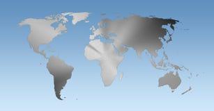 Metallic world map on blue background Stock Photos