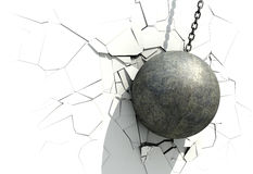 Metallic Wrecking Ball Shattering The White Wall Stock Photo