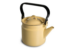 Metallic yellow kettle. Yellow metal kettle on an isolated white background Royalty Free Stock Images