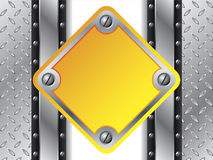 Metallic yellow plate. With steel background vector illustration