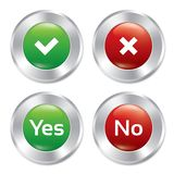 Metallic yes, no buttons template set. Royalty Free Stock Images