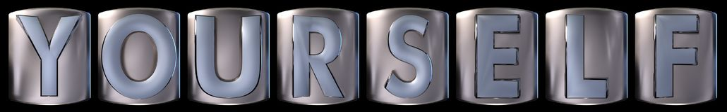 Metallic yourself word. Metallic blue silver yourself word realistic 3d rendered on black background Stock Photos