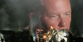 Metallica on Tour 2008. Metontour 2008 - July 23, 2008 Bucharest, Romania, James Hetfield, Lars Ulrich, Kirk Hammett and Robert Trujillo live in concert Royalty Free Stock Photography