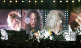 Metallica on Tour. Metontour 2008 - July 23, 2008 Bucharest, Romania, James Hetfield, Lars Ulrich, Kirk Hammett and Robert Trujillo live in concert Stock Photo