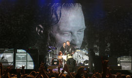 Metallica on Tour. Metontour 2008 - July 23, 2008 Bucharest, Romania, James Hetfield, Lars Ulrich, Kirk Hammett and Robert Trujillo live in concert Royalty Free Stock Photography