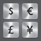 Metallikonen entwerfen - Dollar, Yen, Euro, Pfund. Lizenzfreie Stockfotos