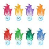 Metallionenflammen-Testfarben Pädagogische Chemie für Kinder Lizenzfreies Stockbild