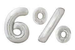 Metallische Ballone des sechs-Prozent-Chroms auf Weiß Lizenzfreie Stockfotografie