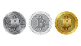 Metallische bitcoins und flache Art Bitcoin - modernes virtuelles Lizenzfreie Stockbilder