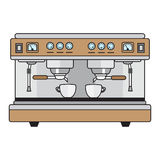 Metallische Farben der Berufskaffeemaschine in einer flachen Art Stockfoto