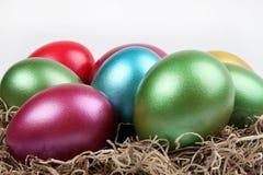Metallische farbige Eier Stockbild