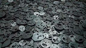 Metallische Gesichter der Traurigkeit und der Sorge Lizenzfreies Stockfoto