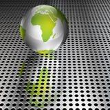 Metallische grüne Kugel auf Chrom-Rasterfeld lizenzfreie abbildung