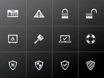 Metallische Ikonen - Inhternet Sicherheit Lizenzfreies Stockbild