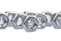 Metallische Nüsse Stockfoto