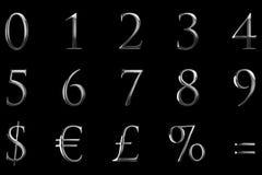 Metallische numerische Buchstaben des Weinlesegussgelb-Silbers fassen Textse ab Stockfotografie