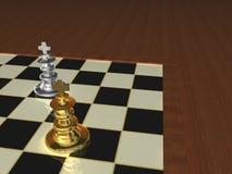 Metallische Schach-Stücke Stockfoto