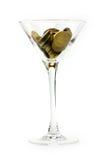 Metallische Spalten und Weinglas Stockbilder