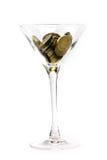 Metallische Spalten und Weinglas Lizenzfreie Stockbilder