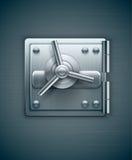 Metallische Tür des Banksafes für Geld Stockbild