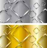 Metallische und goldene Fahnen der abstrakten Technologie Lizenzfreies Stockbild