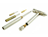 Metallischer abmontierbarer Hammer und Schraubendreher Lizenzfreie Stockbilder