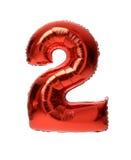 Metallischer Ballon des einzelnen roten großen Nummer zwei für Geburtstag I Lizenzfreie Stockfotografie