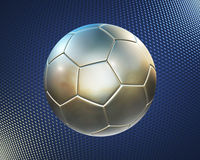 Metallischer Fußball auf dem blauen Hightech- Hintergrund Stockbild