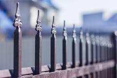 Metallischer geschmiedeter Zaun im Garten Stockbild