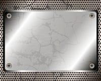 Metallischer Hintergrund mit Platte Stockfotos
